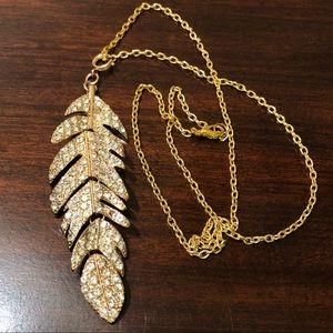 Rhinestone Goldtone Articulated Feather Necklace